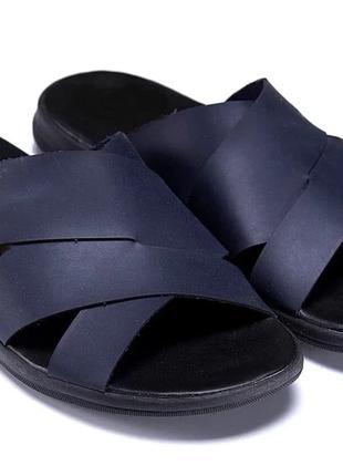 Мужские кожаные летние шлепанцы-сланцы Е-series Blue