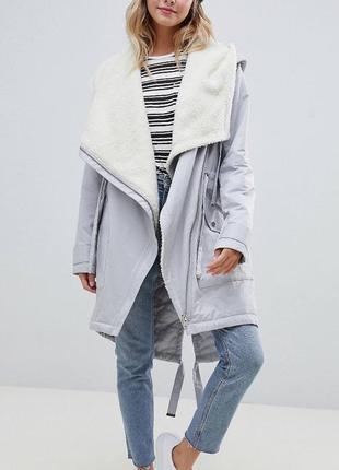 Стильное демисезонное пальто парка куртка asos в стиле zara