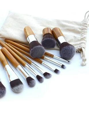 Кисти для макияжа набор 11 шт бамбуковые ручки в чехле
