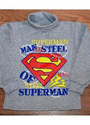 Хлопковая детская водолазка с начесом для мальчика супермен 74...