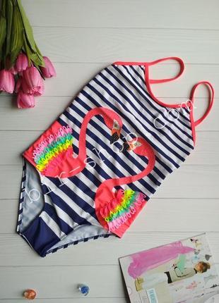 Детский слитный модный купальник в полоску