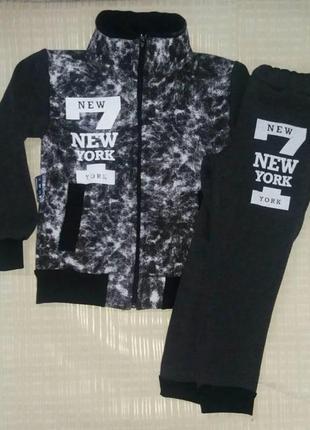 Стильный теплый спортивный костюм с надписью new york