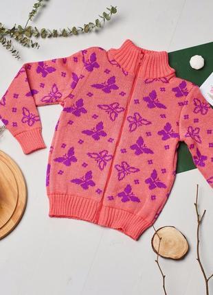Детская теплая вязанная кофта для девочки