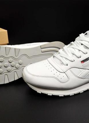 Мужские кроссовки reebok classic белые,кожаные.мужские
