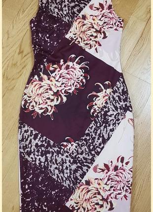 Стрейчевое платье карандаш, футляр next с цветочным принтом