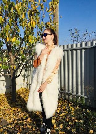 Жилетка эко мех лама белый цвет молочный длинная 100 см искусс...