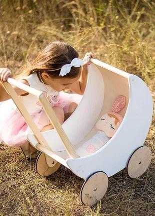 Деревянная коляска для кукол Moon Белая (DP 1029)