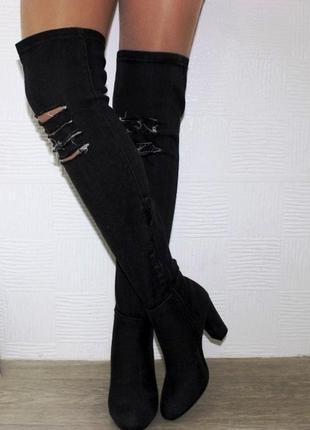 Модные женские джинсовые сапоги ботфорты на высоком каблуке че...