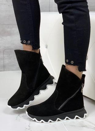 Замшевые зимние ботинки на платформе,тёплые ботинки на низком ...