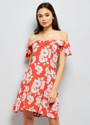 Платье на плечи с рюшами new look