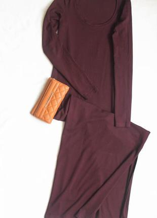 Длинное бордовое платье майка с рукавом, размер xs-m