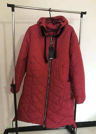 Красное зимнее длинное пальто, длинная куртка на зиму 66 размер