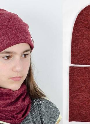 Комплект шапка на флисовой подкладке и хомут цвет бордовый