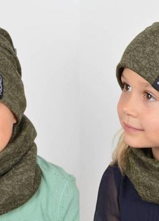 Комплект шапка на флисовой подкладке и хомут цвет хаки