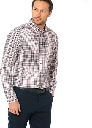 Мужская рубашка lc waikiki в бордово-синюю клетку, с карманом ...