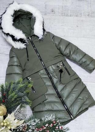Модная зимняя куртка-пальто для девочки-подростка