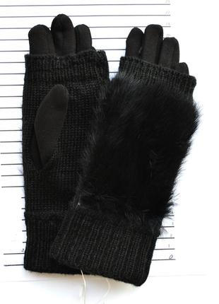Женские трикотажные перчатки с натуральным мехом и с сенсорным...