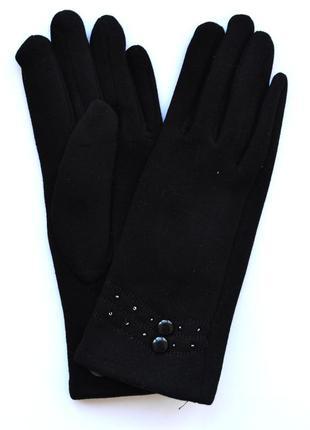 Женские трикотажные перчатки на флисовой подкладке