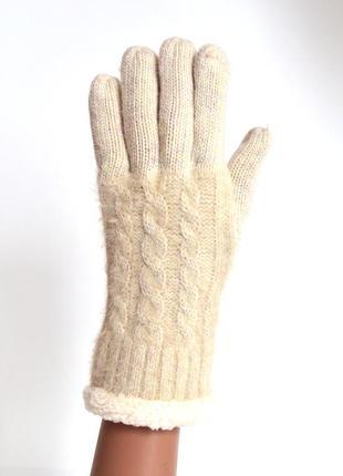 Женские трикотажные перчатки с флисовой подкладкой