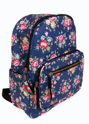 Рюкзак для школы и прогулок с цветочным принтом синий