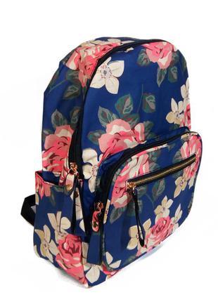 Рюкзак для школы и прогулок с цветочным принтом голубой