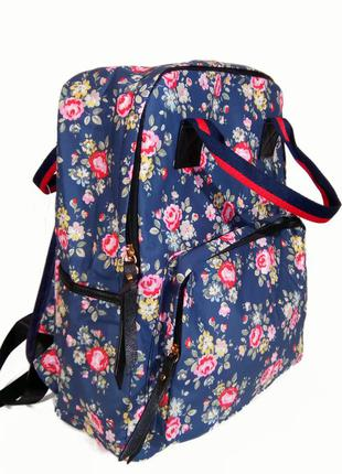 Сумка - рюкзак для школы и прогулок с цветочным принтом синий