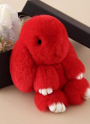 Брелок кролик из натурального меха 18 см красный