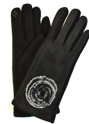 Женские трикотажно - замшевые перчатки с сенсорными пальчиками...