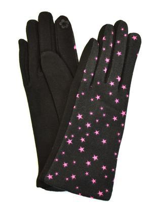 Женские трикотажные перчатки с сенсорными пальчиками на флисов...