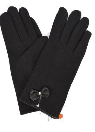 Женские трикотажные перчатки на меху кролика