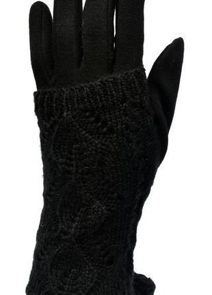 Женские трикотажные перчатки  и сенсорными пальчиками на флисо...