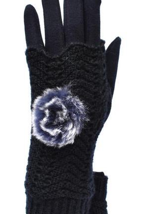Трикотажные женские перчатки с сенсорными пальчиками на флисов...