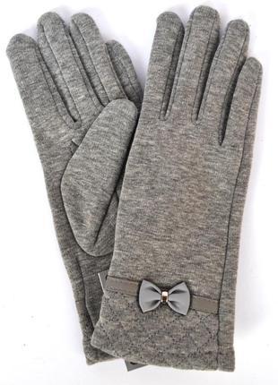 Женские серые трикотажные перчатки на флисовой подкладке