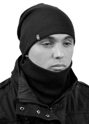 Шапка, хомут молодежный комплект 035 цвет 3 черный, осень - зима