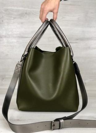 Стильная женская вместительная сумка оливкового цвета