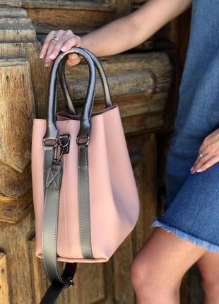 Стильная женская вместительная сумка персикового цвета