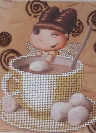Вышивка бисером Фея какао подарок картина hand made