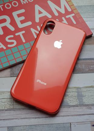 Чехол iphone x xs silicone glass case