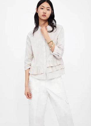 Шикарна рубашка в полоску льон /катон з оборками zara, розмір ...