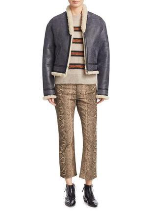 Mom джинсы брюки со змеиным, анималистическим принтом, высокая...
