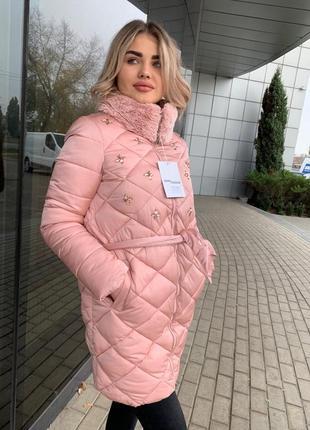 Куртка пуховик зимняя со стразами с мехом на утеплителе