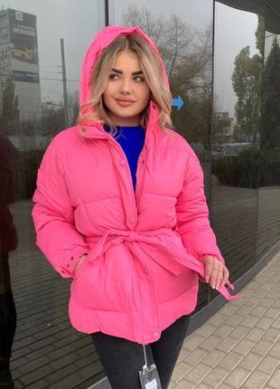 Тёплая зимняя куртка с поясом на холофайбере зефирка