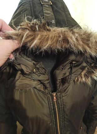 Зимняя женская куртка пальто пуховик парка длинная хаки