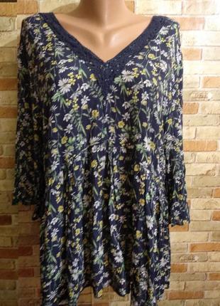 Вискозная блуза с кружевом рукав волан в цветочный принт 20/54...