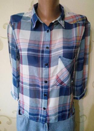 Alcott . стильная полупрозрачная рубашка сорочка блузка в клет...