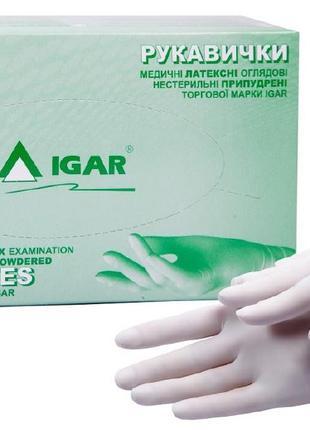 Перчатки медицинские латексные смотровые нестерильные опудренные