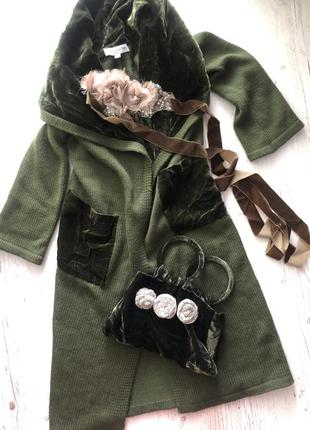 Комплект пальто кардиган шерсть с сумкой , италия !