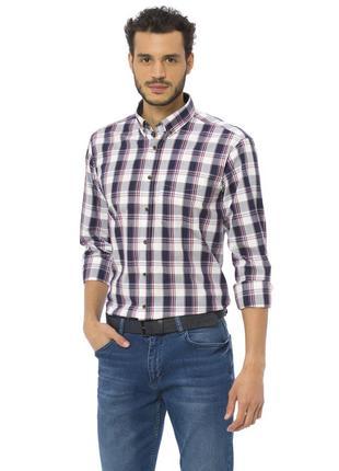 Белая мужская рубашка lc waikiki в бордово-синюю клетку, с кар...