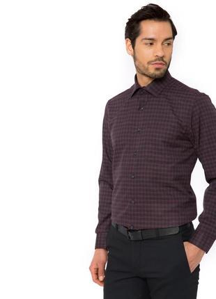 Бордовая мужская рубашка lc waikiki в синюю клетку, с карманом...