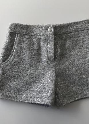 Тёплые шорты с паетками на девочку 10-11 лет